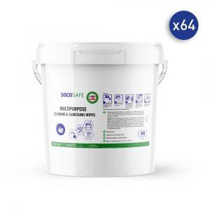 64 seaux de 850 lingettes nettoyantes et désinfectantes SOCOSAFE