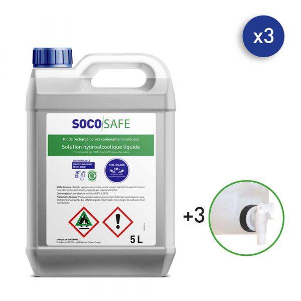 bidon de solution hydroalcoolique pour les mains 5 litres SOCOSAFE
