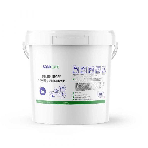 Lingettes nettoyantes et désinfectantes dans seau de 850 lingettes SOCOSAT SDS850