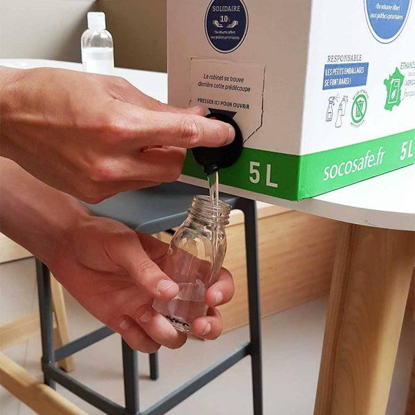 Distributeur de gel hydroalcoolique Bag in Box 5L pour remplir petit flacon