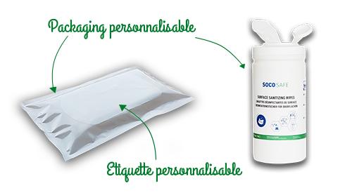 fabrication à façon socosafe gel et solution hydroalcoolique et lingette désinfectante
